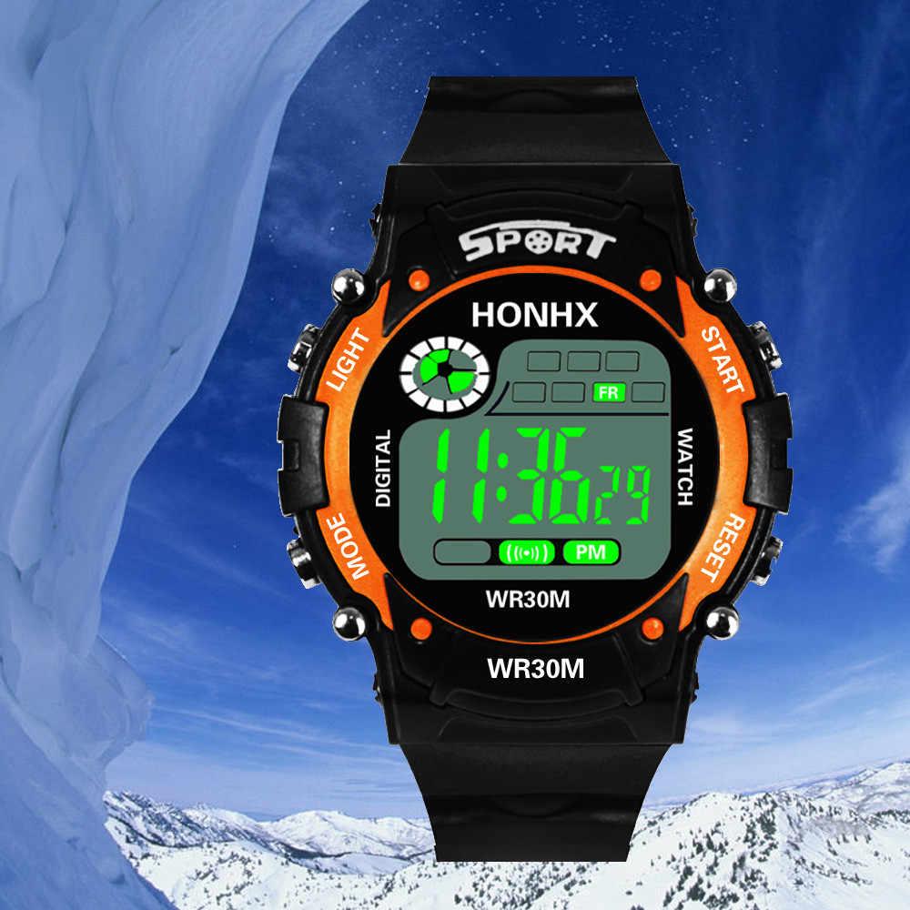 แฟชั่นผู้ชายนาฬิกามัลติฟังก์ชั่น LED จำลองสีฟ้าหน้าจอนาฬิกาปลุกวันที่กีฬาที่ดีที่สุดขาย Boutique นาฬิกา 03