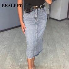 REALEFT – jupe longue en jean Denim pour femmes, Vintage, taille haute, avec ceinture, droite, ligne a, nouvelle collection été 2020