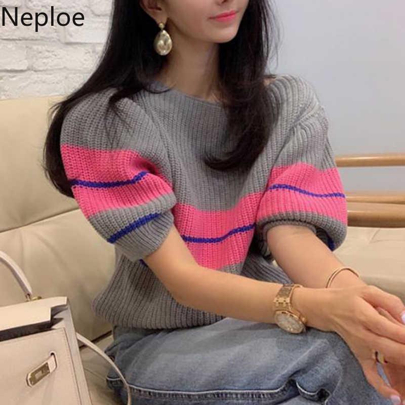 Neploe arco-íris listrado camisola feminina primavera 2020 coreano o pescoço puff manga feminina pulôver tops casua estiramento senhoras jumper