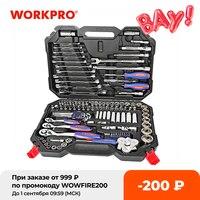 WORKPRO-Conjunto de herramientas de reparación de automóviles, kit mecánico con destornilladores, llaves inglesas, trinquete y enchufes