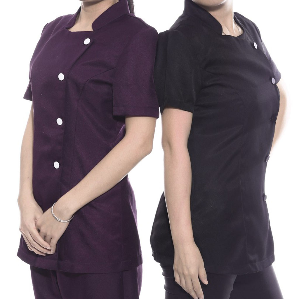 2Pack Women's Salon Spa Beautician Hairdressers Uniform Tunic Coat Therapist Uniform Black Purple For Nail Bars Massage