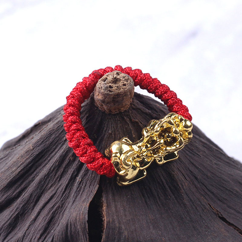 Hot Lucky Red Rope Woven <font><b>Ring</b></font> Golden Brave Troops Amulet <font><b>Ring</b></font> <font><b>Buddhist</b></font> Jewelry A66 image