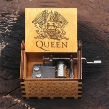 Wooden Hand Crank Music Box Engraved Queen Design Bohemian R