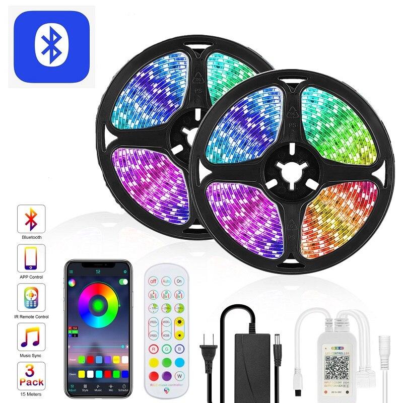Takim jak Goodland listwy RGB LED światła Bluetooth 12V wstążka LED taśma świetlna taśma RGB 5050 kolorowe światła taśma diodowa dla pokoju podświetlenie TV