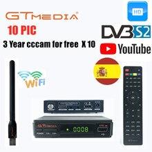 10 PIC Hot sale GTMEDIA V7S HD DVB-S2 Receptor Europe Cline for 1 Year Spain Germany Include wifi Freesat V7