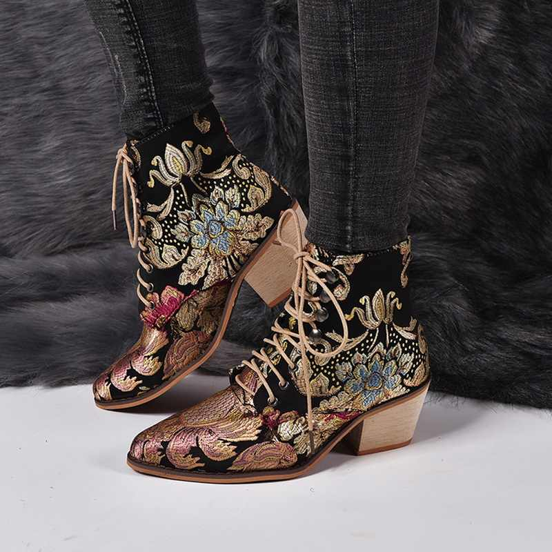 Stilvolle Frauen Chelsea Stiefel Sticken Ethnische Winter Ankle Boot Lace Up Spitz Hohe Ferse Schuhe Warme Cowboy Botas Mujer retro