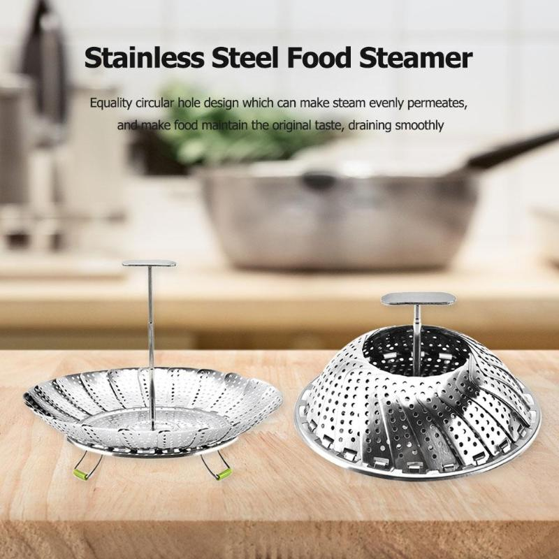 Food Steamer Stainless Steel Vegetable Fruits Mesh Basket Kitchen Cook Tool  Folding Food Fruit Vegetable Vapor Cooker Stainless