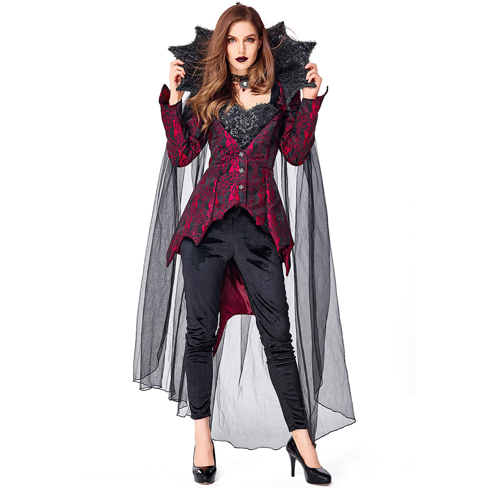 Umorden Adult Gothic Romance Vampiress Costume Vampire Cosplay for Women Halloween Purim Costumes Fancy Dress with Necklace