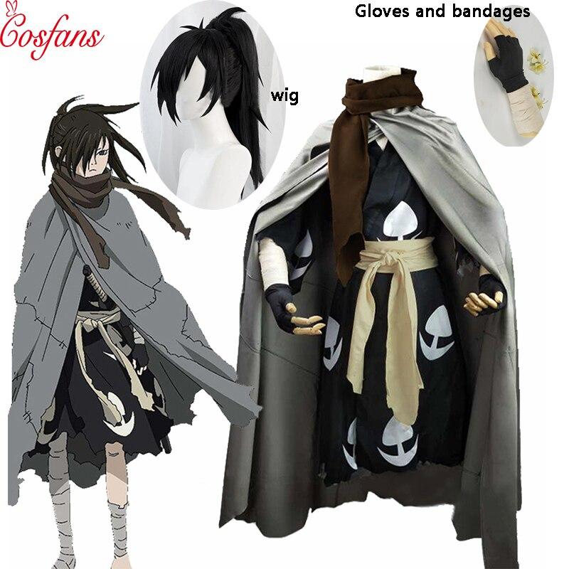 6PCS Janpnese Anime Dororo Cosplay Costume Hyakkimaru Kimono Men Cosplay Costume Halloween Men Cloak Costume Full Set And Wig