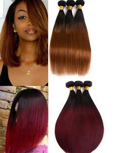 Two-Toned Hair-Bundles Weave Human-Hair 99J Remy Colored Dreamdiana Straight Ombre Hair-1b-27-30