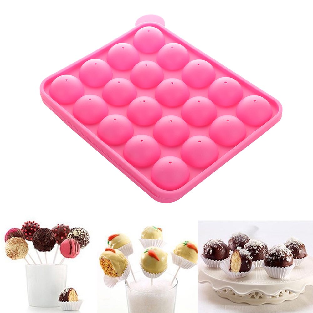 20 Cake Cookie Silicone Tray Pop Stick Mould Lollipop Party Cupcake Baking Mold