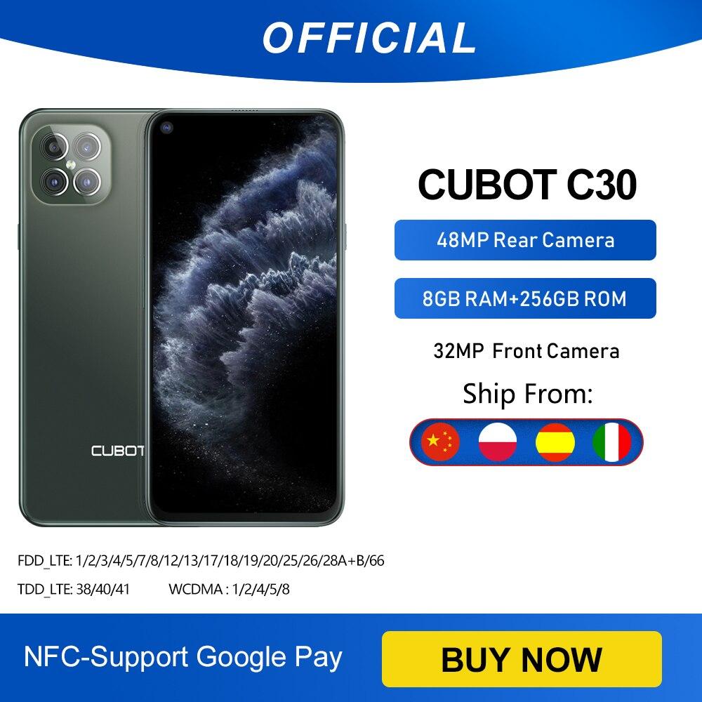Cubot C30 48MP Quad AI Camera 8GB+256GB 32MP Selfie Smartphone Global 4G LTE Helio P60 NFC 6.4 Inch FHD+ 4200mAh Android 10 Cellphones  - AliExpress