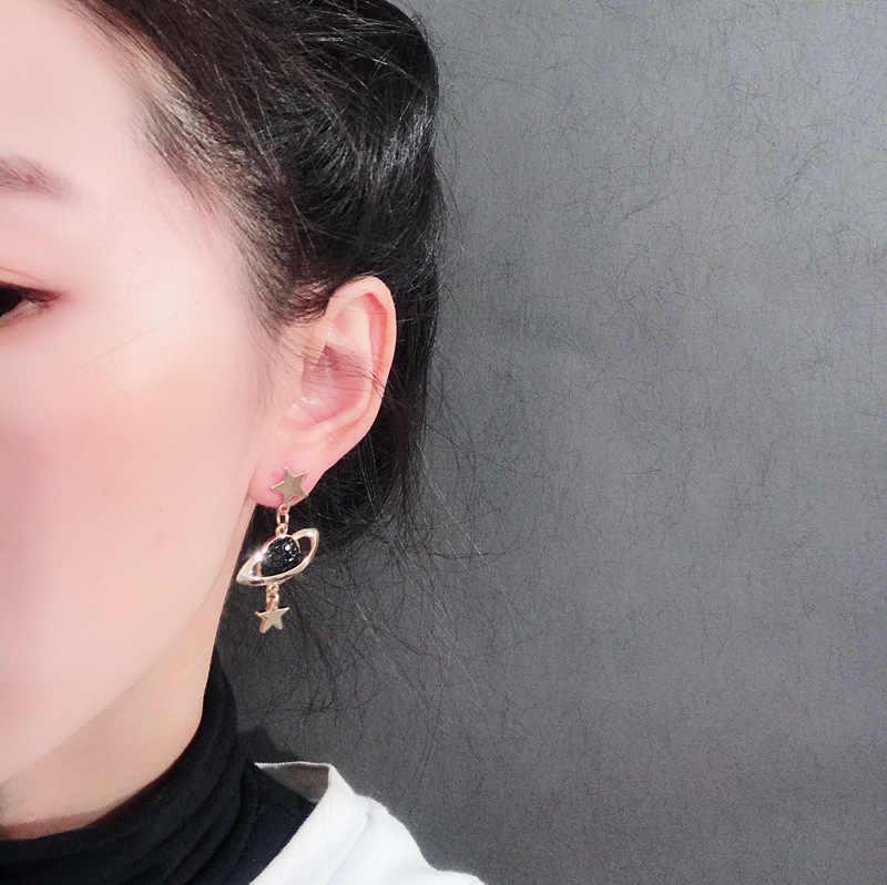 2019 Korean New Statement Long Chain Tassel Star Earrings Asymmetrical Black Crystal Planet Moon Dangle Drop Earrings for Women