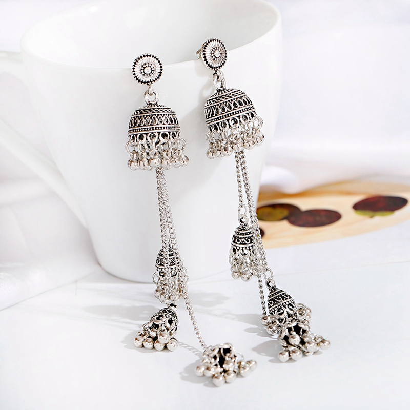 H33d72615cc0647ec95901662610cb605i - Ethnic Gold Afghan Long Tassel Bead Drop Earrinngs Bollywood Jewellery Bell Jhumka Indian Earrings Wedding Jewelry