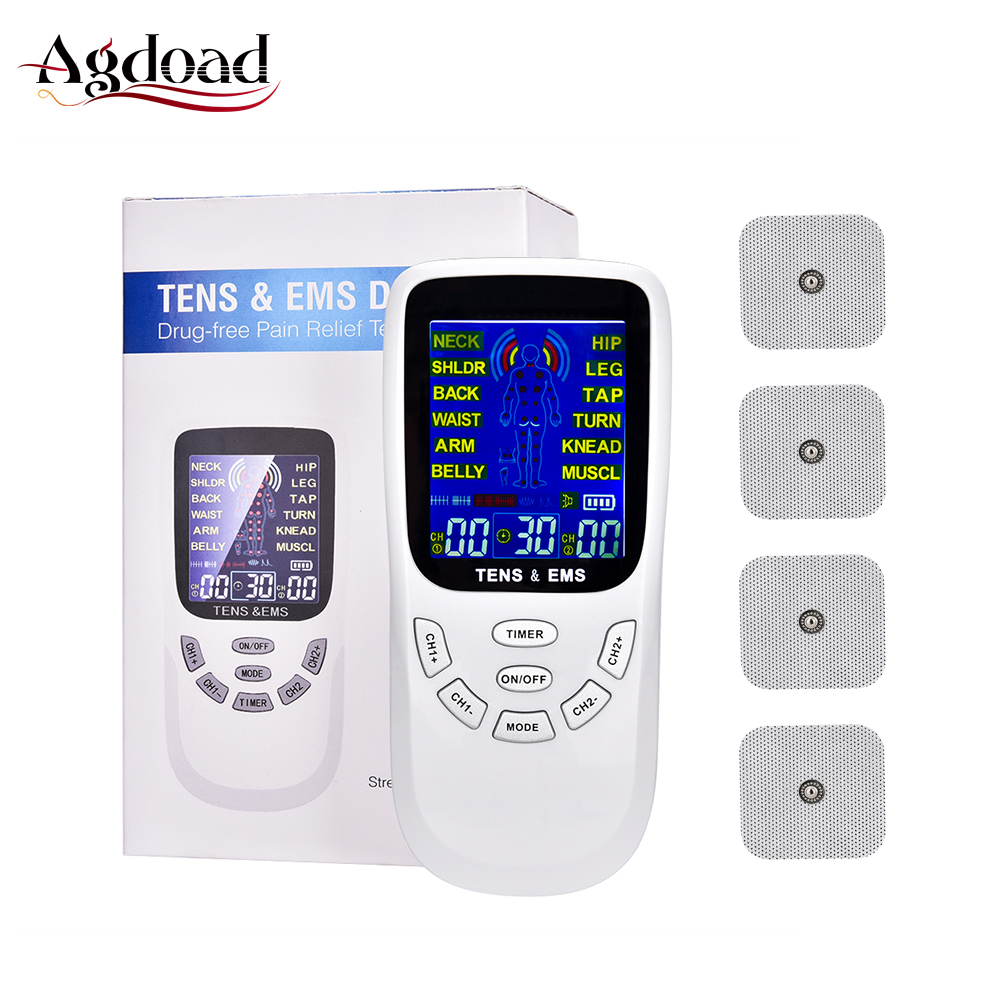 Tens Fisioterapia Machine 4 Tens Electrodes For Meridian Therapeutic Apparatus Massager Muscle Stimulator 12 Modes Tens EMS Unit