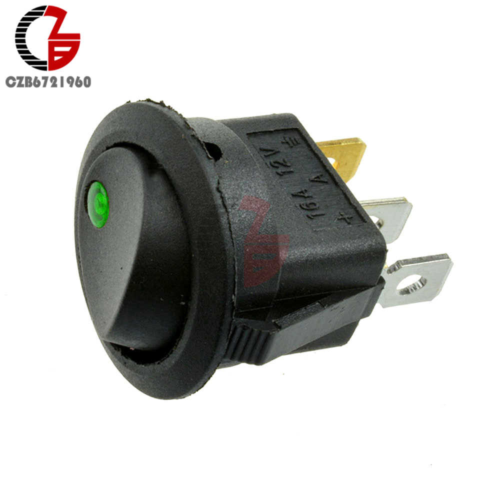 12 فولت LED نقطة ضوء مفتاح فصل للسيارة السيارات قارب جولة الروك 3Pin ON/OFF تبديل SPST التبديل 4 ألوان أزرق أصفر أحمر أخضر