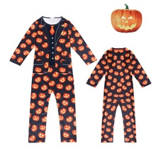Boy Girl Clothes Cosplay Costume Long Sleeves Print Pumpkin Jumpsuit Halloween For Kids