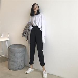Image 2 - Женские однотонные брюки, подходящие ко всему брюки до щиколотки, женские тонкие элегантные прямые модные брюки в Корейском стиле на молнии, 2020