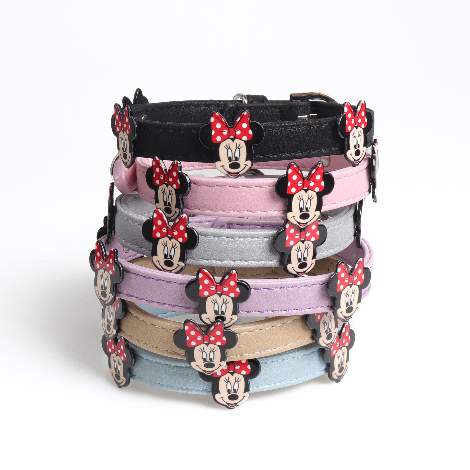 Amin Lattice New Style Creative Mickey Accessories Dog Neck Ring Pu Pet Cat Neck Ring Hand Holding Rope