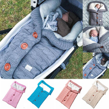 Толстый теплый детский спальный мешок для новорожденных Зима Осень Теплый для детской коляски хлопок вязаный Конверт одеяло унисекс флис спальный мешок