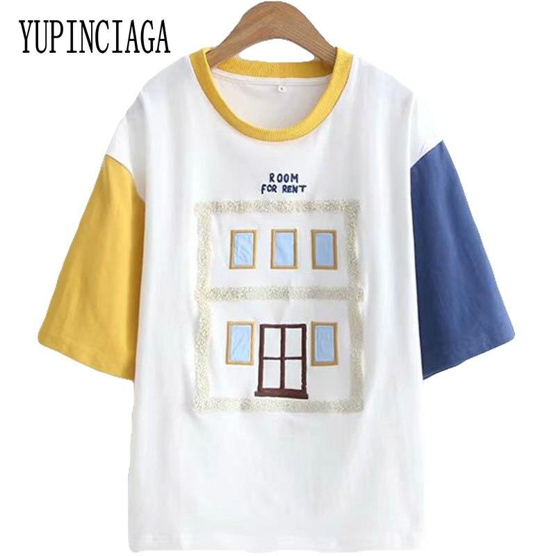 Women Cotton T Shirts Stitching Hit Color Cotton T Shirts Patchwork T Shirt 2020 Spring Short Sleeve O-Neck Tops Tees YUPINCIAGA