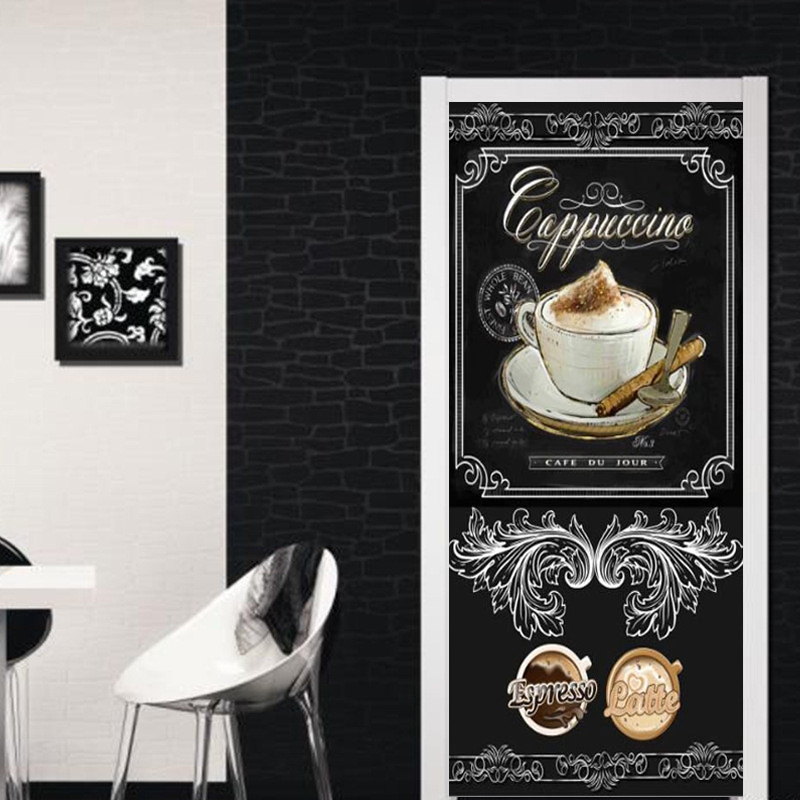 European Style Retro 3D Blackboard Coffee Graffiti Mural Wallpaper Restaurant Cafe Door Paste PVC Waterproof Door Stickers Decal