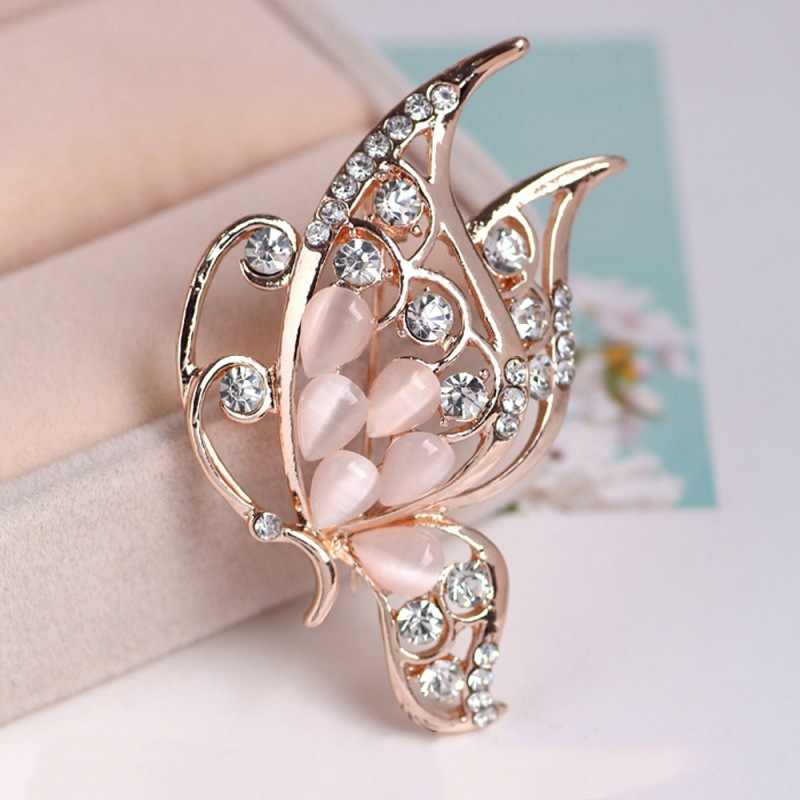 2018 alfileres clásicos de moda para mujer broche elegante de mariposa broche de esmalte Accesorios para prendas broche amuleto Pin de fantasía de diamantes de imitación