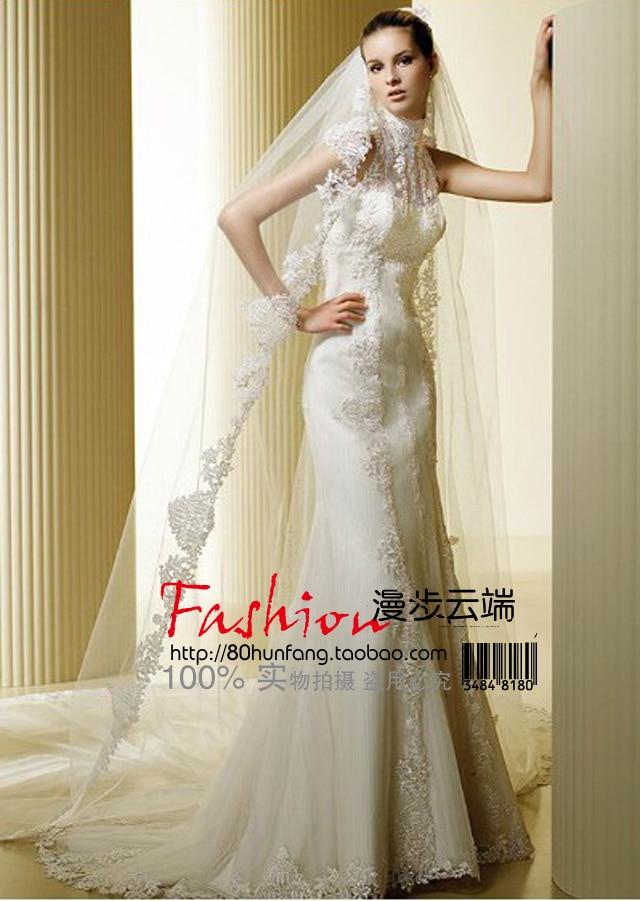 Free Shipping Casamento Highneck Dress Bride Vestido De Noiva 2016 New Fashionable Appliques Sexy Long Wedding Dress Bridal Gown