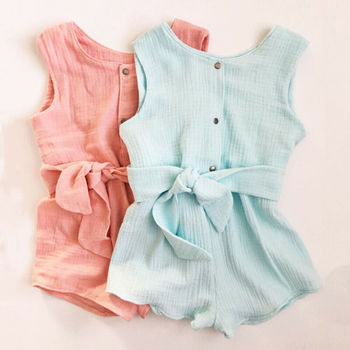 Newborn Baby Girls Rompers Ruffle Linen Cotton Baby Girl Clothes Spring  Summer Backcross Jumpsuits Outfits Sunsuit Baby Clothing-Leather bag