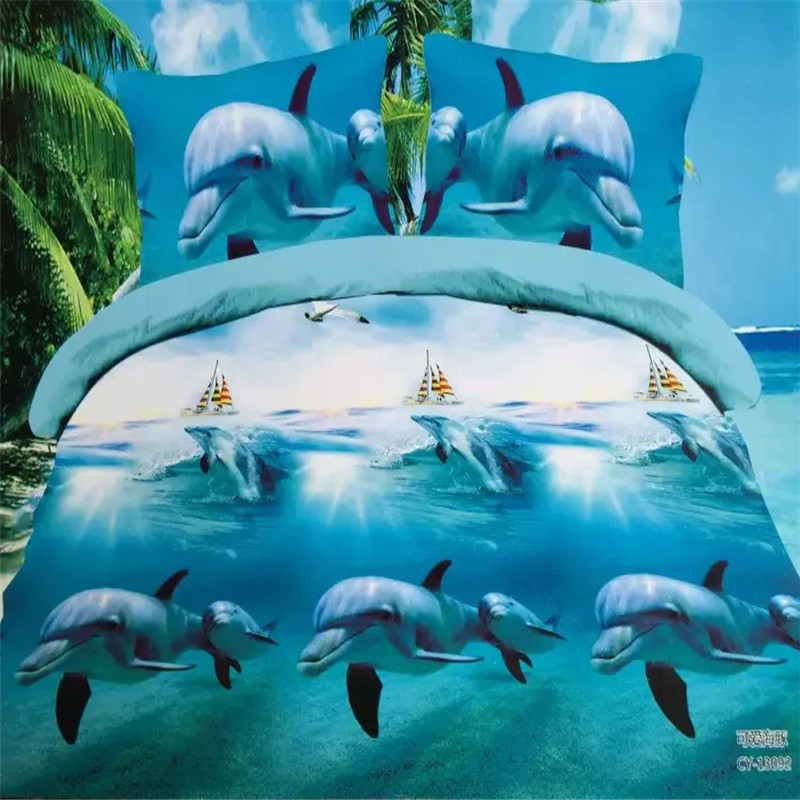 3d gaming dolphins bedding set queen size 4pcs duvet/doona cover bed sheet pillow cases bed linen set image