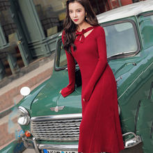 Fashion Sweater Dress Korean Women Knitted Elegant High Waist Sweaters Midi Dresses Vintage Bodycon