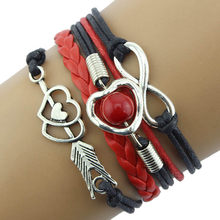 Gofuly Retro DIY Infinity Fashion Leather Handcuffs Love Heart Pearl Friendship Antique Braided Wristband Bracelet Girl new(China)