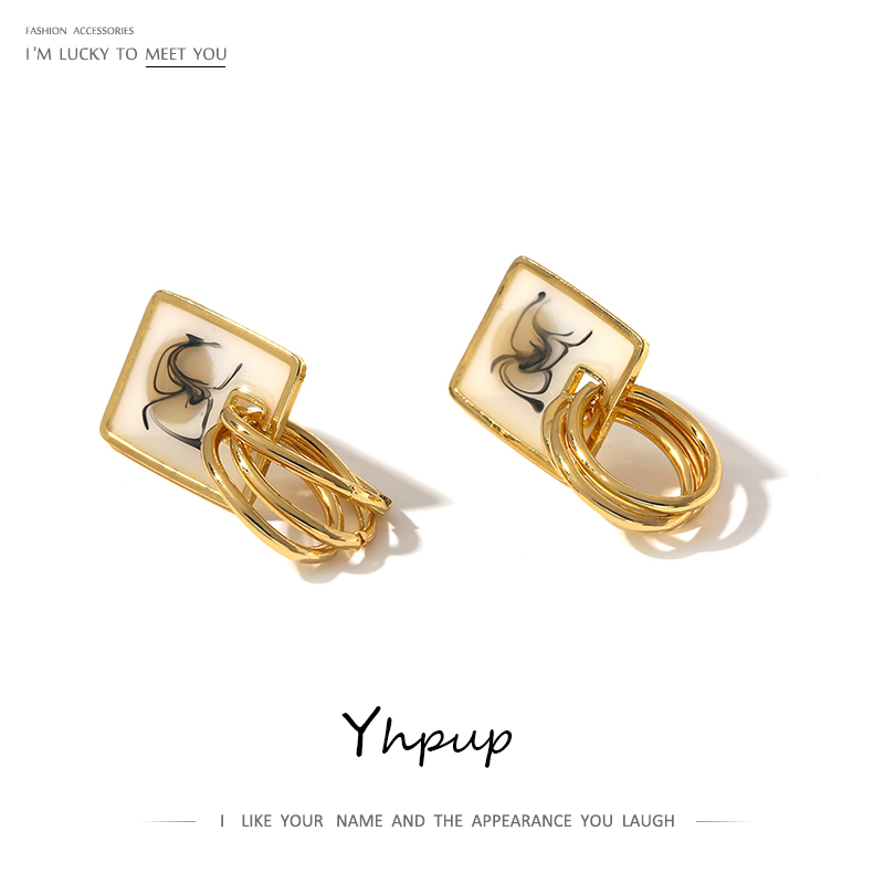 Yhpup Trendy Square Round Geometric Stud Earrings Copper Gold 2020 Enamel Earrings For Female Fashion Jewelry Metal S925 Post