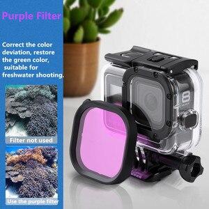 Image 5 - Oryginalna wodoodporna obudowa filtr ochronny Shell fioletowy różowy czerwony filtry do Gopro Hero 8 czarny akcesoria do kamer akcji