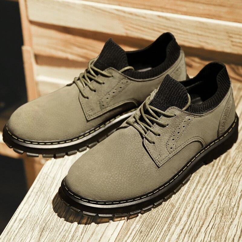 2019 Hot hommes marche chaussures automne mode hommes chaussette chaussures en cuir naturel espadrilles décontractées pour hommes en caoutchouc bas hommes travail chaussure