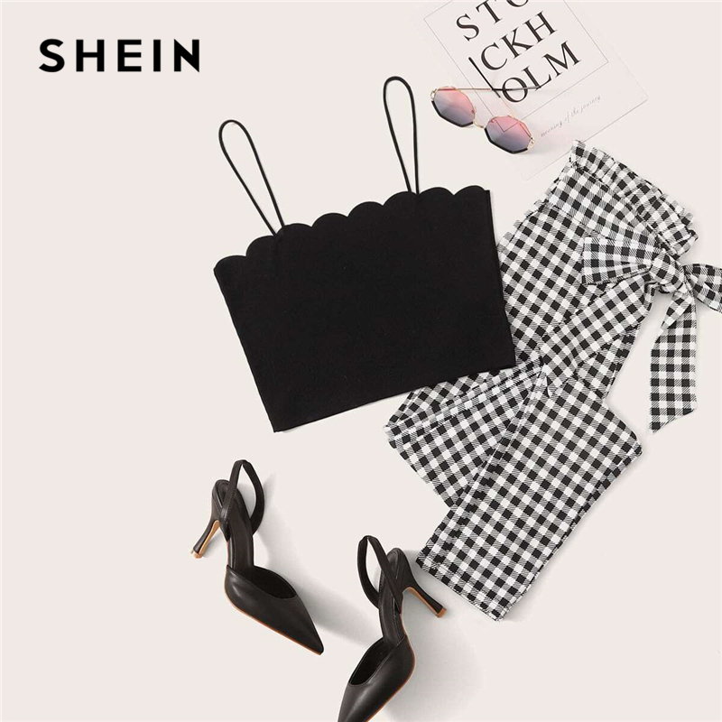 SHEIN Scallop Trim Cami and Paperbag Waist Belted Gingham Carrot Pants Set Women 2020 Summer Sleeveless Casual Two Piece Sets