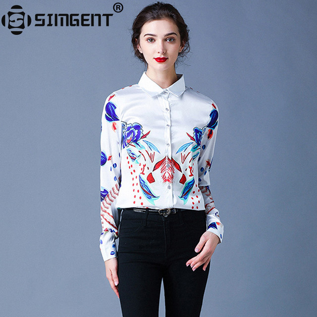 Simgent Floral Blouses Womens Long Sleeve Stripe Flower Printing Turn Down Collar Work Office Tops Woman Shirts Blusas SG911088 1