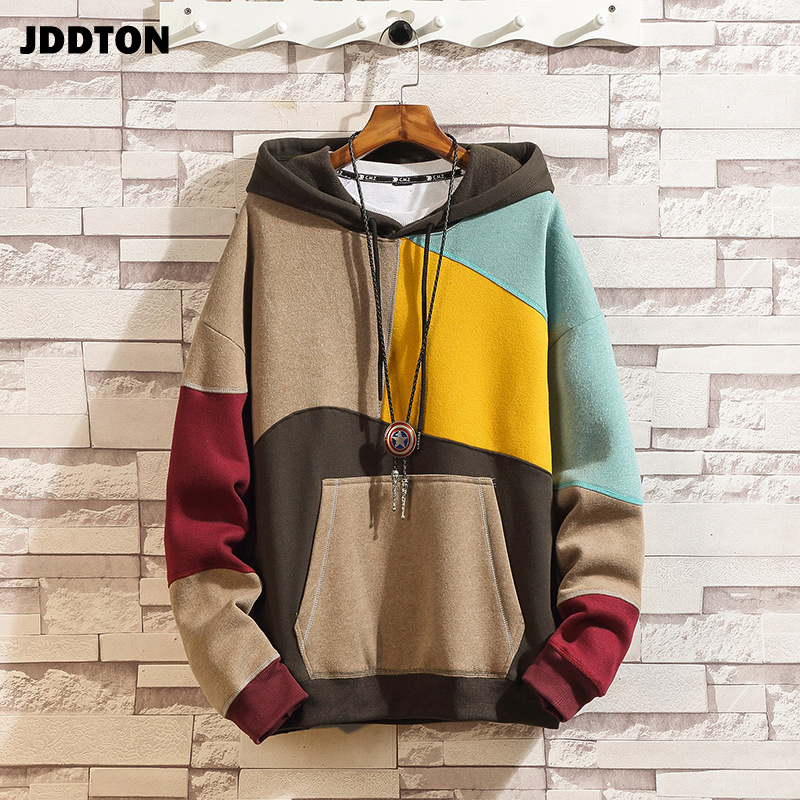JDDTON Men's  Patchwork Hooded Sweatshirt Hoodies Clothing Casual Loose Warm Streetwear Male Fashion Autumn Winter Outwear JE221
