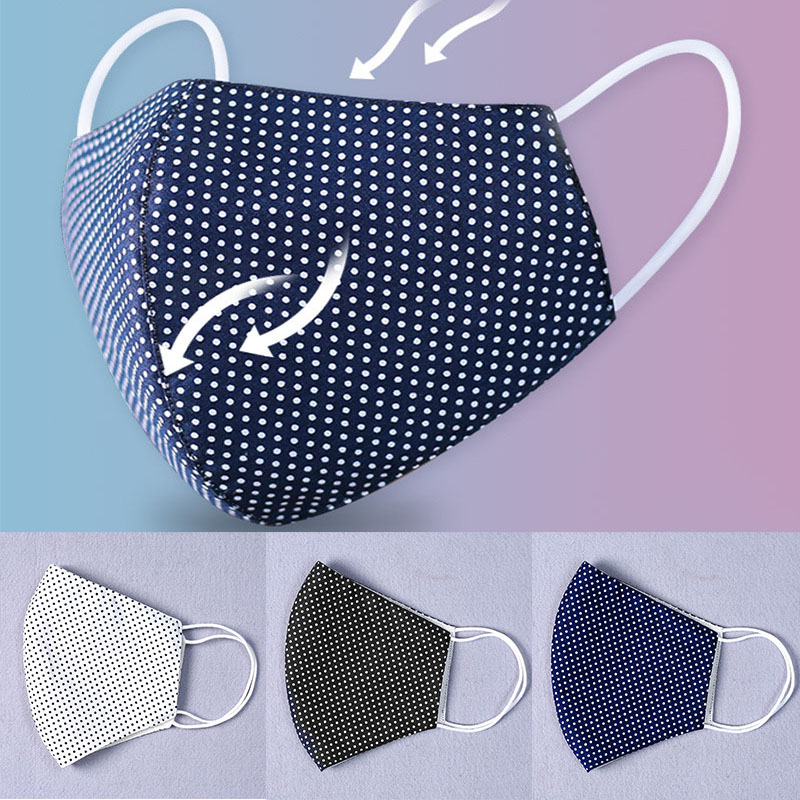 Face Mask Men Women Anti-bacterial Dust Mask Unisex Breathable Mouth Masks Cotton Repeatable Washable Dot Masks High Quality