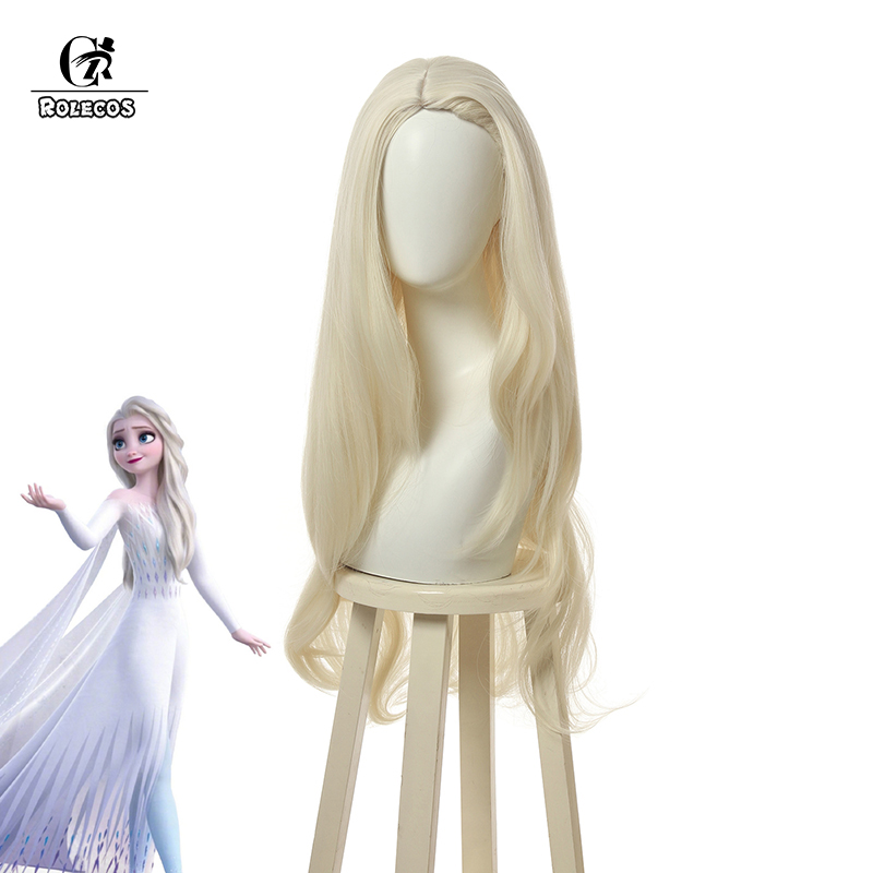 ROLECOS Princess Elsa Cosplay Wig Milky White Hair Ice Queen Elsa Cosplay Long Wig Christmas Women Synthetic Hair Xmas Headwear