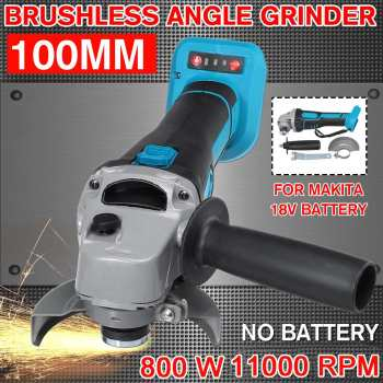800W 18V 100mm Brushless Cordless Electric Angle Grinder Variable Speed Power Tool Cutting Machine Polisher For Makita Battery 800w 220v 100mm portable electric angle grinder muti function household polish machine grinding cutting polishing machine