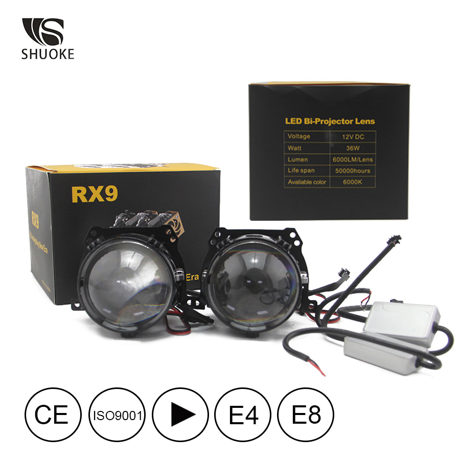 New Freeshipping Shuoke Mini Bi-LED Projector Lens Light 12V 6000K Retrofit Biled Bi LED Projector 2 Pcs
