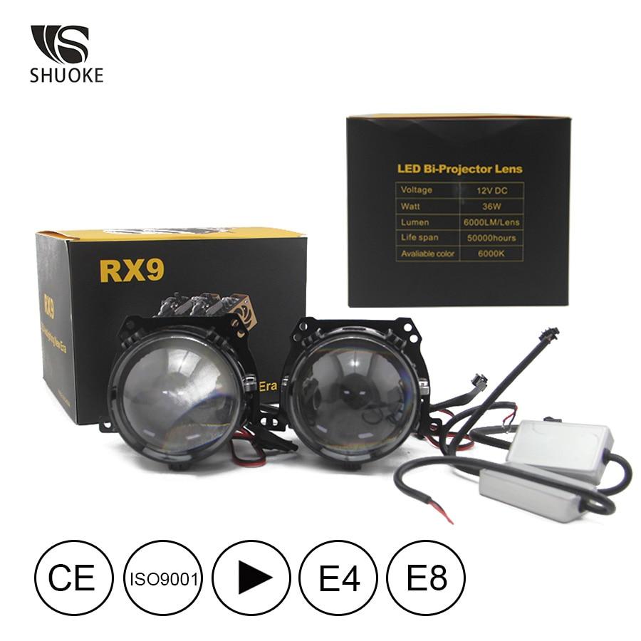 New Freeshipping Shuoke Mini Bi-LED Projector Lens Light 12V 6000K Retrofit Biled Bi LED Projector 2 Pcs