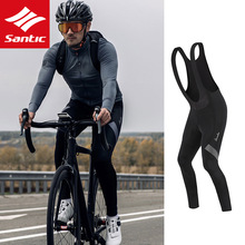 Santic Men Cycling Pant Bicycle Bib Pants 4D Padding Cushion Winter MTB Bike Cycling Bib Long Pants Warm Fleece