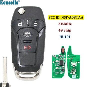 3 + 1/4 boutons retournent la clé à distance sans clé entrée Fob 315MHz avec 49 puces Hitag Pro pour Ford Fusion 2013-2015 FCC ID: N5F-A08TAA HU101