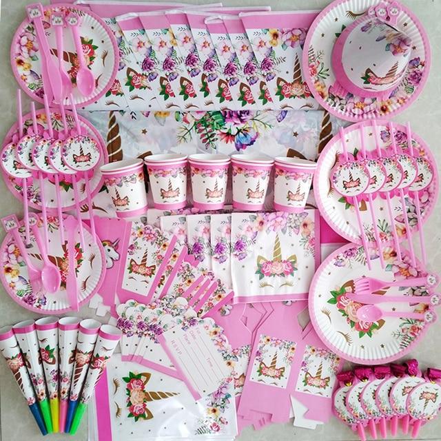 Kids girl birthday party disposable cup plates happy birthday unicorn tableware set pink nice party supplies fiesta unicornio
