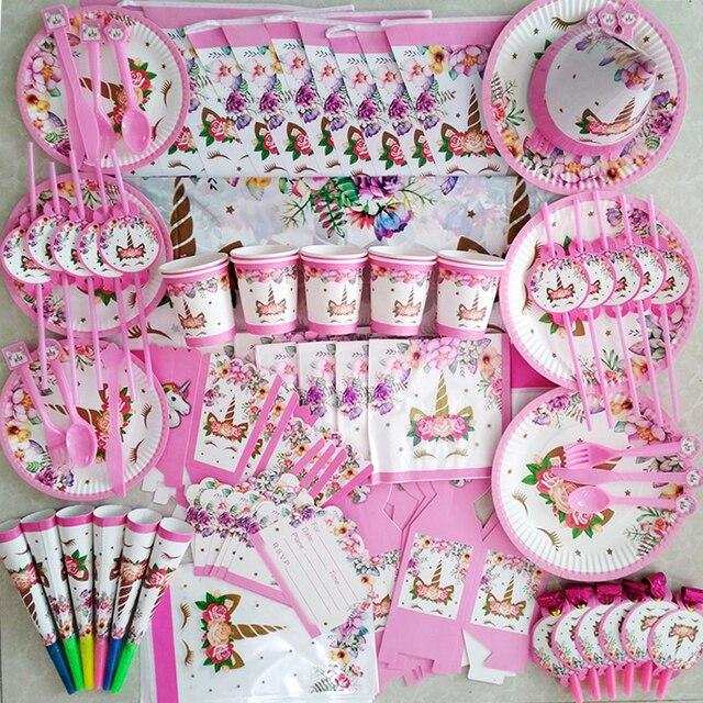 Platos de vasos desechables para fiesta de cumpleaños niños niñas, vajilla de unicornio de feliz cumpleaños, rosa, suministros de fiesta, unicornio