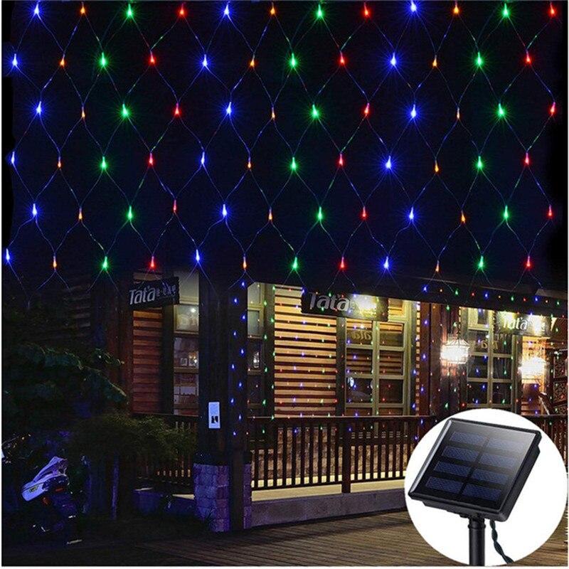 Светодиодный сетчатый светильник на солнечной батарее 1,1x1,1 м 2x3 м для дома, сада, окна, занавески, декоративный светильник s для Рождества, свадьбы - Испускаемый цвет: Multicolor