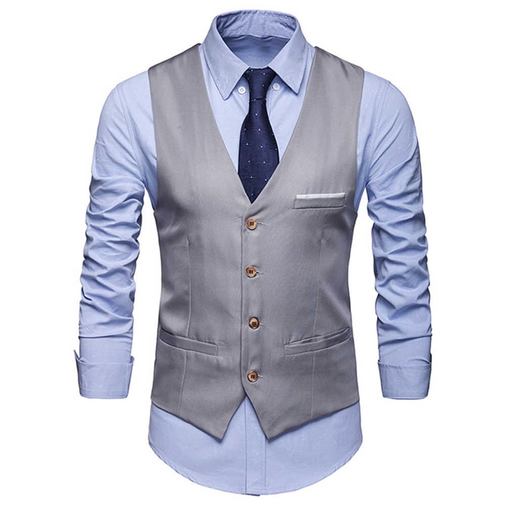 Plus rozmiar formalne mężczyźni solidny kolor garnitur kamizelka jednorzędowa biznesowa kamizelka
