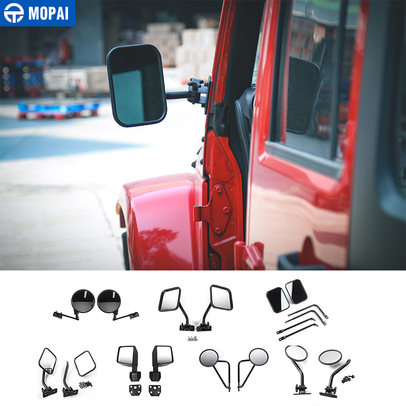 MOPAI Mirror Cover for Wrangler 1987-2019 Car Rearview Mirror Blind Spot Mirror Accessories for Jeep Wrangler YJ TJ JK JL 2007+